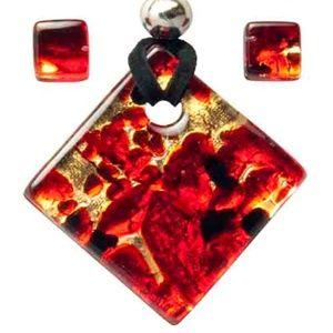 Jewelry - Venetian Glass Necklace & Earrings - Auth Murano